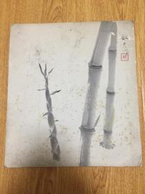 民国日本手绘《竹与笋》色纸一幅,【敏夫】作