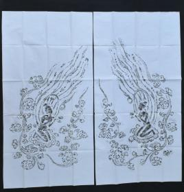 回流《飞天像》拓片  2张 手拓凸凹感明显 飞天,佛家语,即乾闼婆,是佛教中天帝司乐之神,又称香神,乐神、香音神。飞天一词出自于洛阳伽蓝记 尺寸约:136*70CM