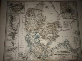 1877年 丹麦冰岛地图 48.5*44cm