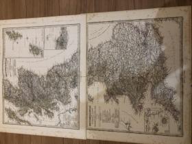 1876年 英格兰和苏格兰地图两张 每张48.5*44cm