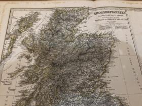 1876年 英格兰和苏格兰地图两张 每张48.5 44cm
