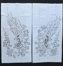 回流 《飞天像》拓片  2张  手拓凸凹感明显 飞天,佛家语,即乾闼婆,是佛教中天帝司乐之神,又称香神,乐神、香音神。飞天一词出自于洛阳伽蓝记 尺寸约:136*70CM