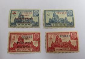法国在华客邮法广贝当元帅广州湾、附捐加盖邮票新各一套
