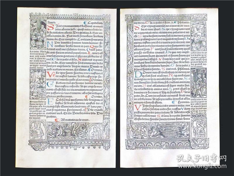 约1500年制作法国巴黎书商西蒙·沃斯绰发行,菲利普·皮戈奇特印制,羊皮纸材质祈祷书单页,多幅版画