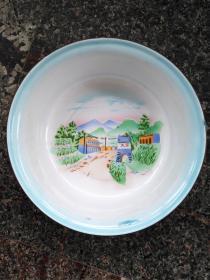 文革搪瓷盆、大寨,1970,长春市搪瓷厂大众产品火炬商标,规格400MM,9品。
