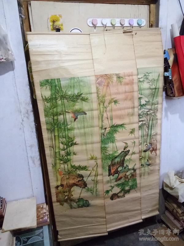 四条屏 青竹鸟欢 存一.三.四 杨万国作 天津杨柳青画社出版 1989年6月1版1印