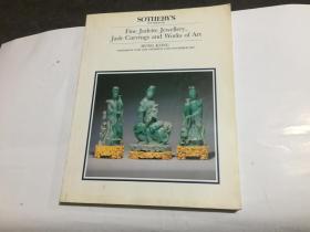 Fine Jadeite Jewellery,Jade Carvings and Works of Art 香港苏富比1989年拍卖图录(主要为玉器,翡翠.金银器.漆器.家俱.砚台.瓷器等)9品