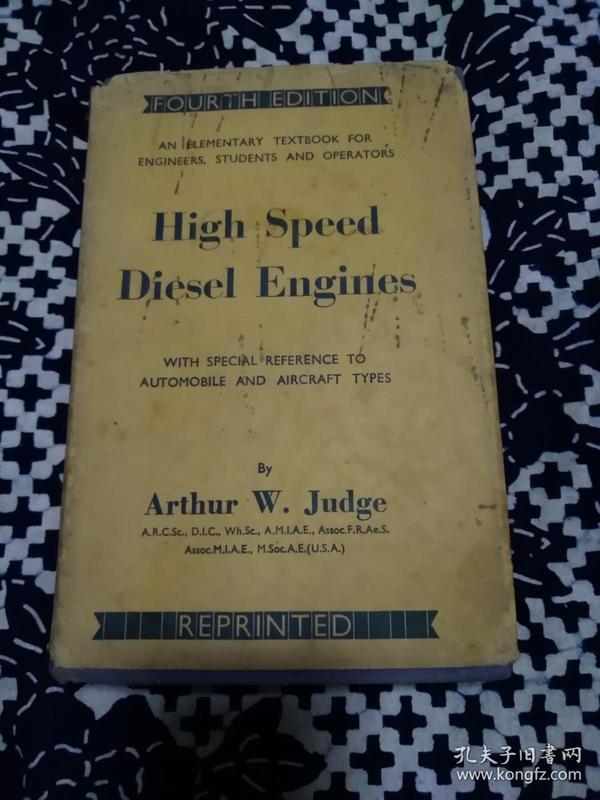 民国英文书《HⅠGH,SPEED,DIESEL,ENGINES》