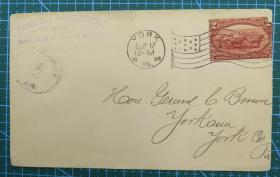1898年9月17日美国(第一次世界大战英雄约克)实寄封贴邮票1枚