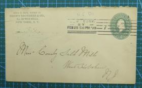 1899年2月28日美国(纽约寄西霍博肯)绿椭圆2分邮资实寄封