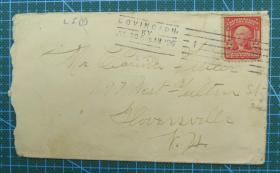 1906年7月30日美国(科温顿寄格洛弗斯维尔)实寄封贴早期邮票1枚