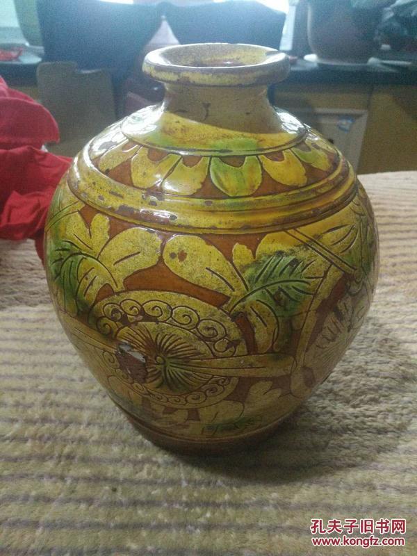 界首彩绘三彩陶花瓶-其他杂项 收藏杂项