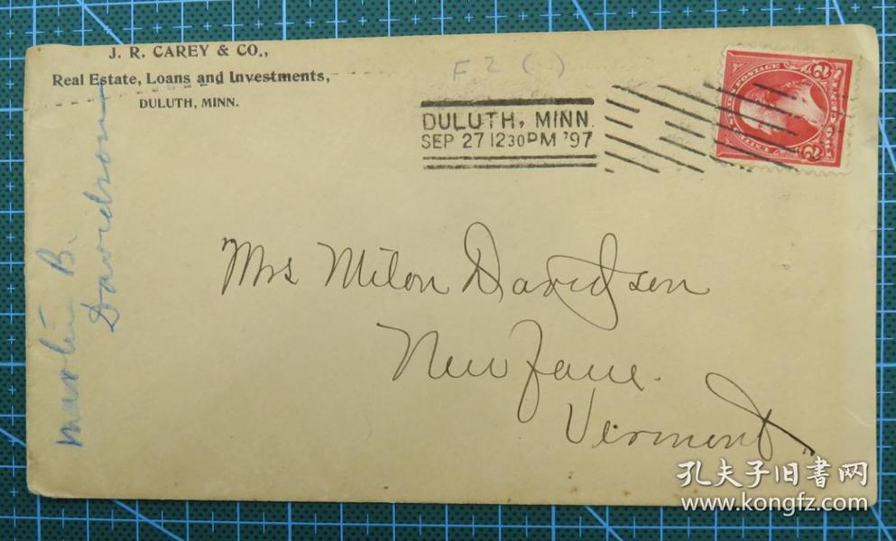 1897年9月27日美国(德卢斯纽约)实寄封贴早期古典邮票1枚