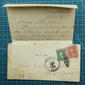 1918年1月3日美国法明顿实寄封贴古典邮票2枚(含信件)