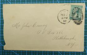 1888年2月12日美国(普拉茨堡)实寄封贴古典邮票1枚