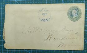1880年左右美国早期绿椭圆3分邮资实寄封