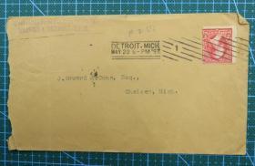 1897年5月20日美国(底特律寄切尔西)实寄封贴早期古典邮票1枚