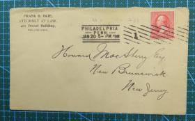 1898年1月20日美国(费城寄纽约)实寄封贴早期古典邮票1枚
