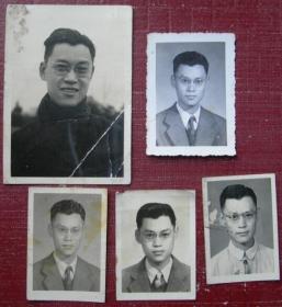 民国老照片:眼镜男,同一人5张,尺寸如图。【陌上花开系列】
