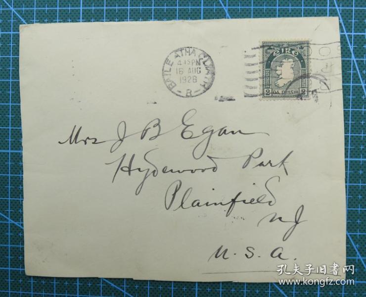 1928年8月16日爱尔兰( 巴利阿克利 寄美国)实寄封贴早期邮票1枚