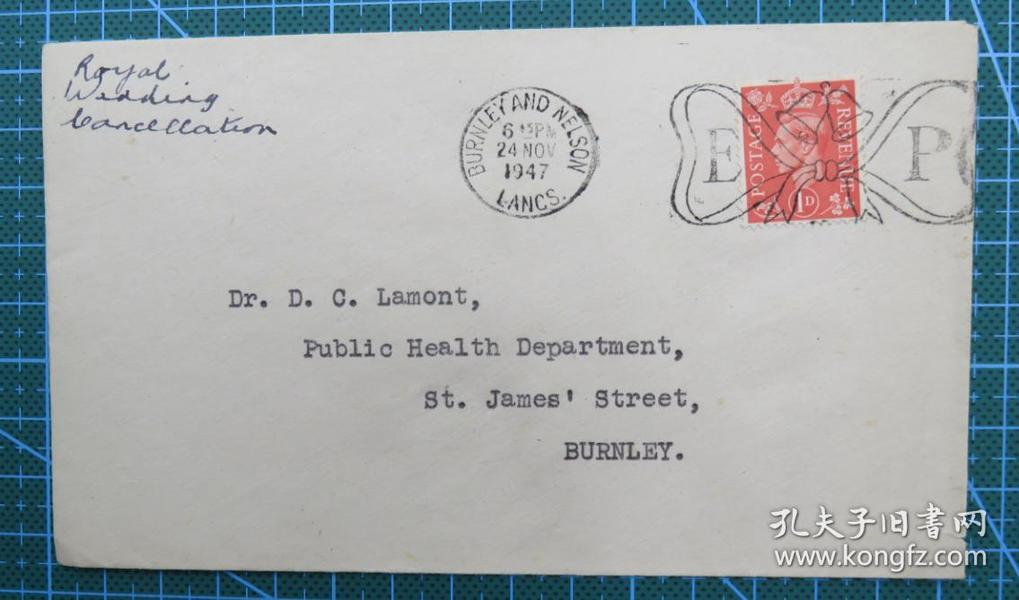 1947年11月24日英国(伯恩利互寄)实寄封贴邮票1枚