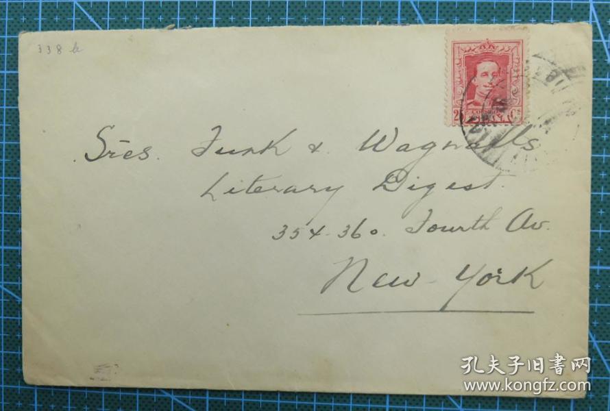 1940年左右(西班牙寄美国纽约)实寄封贴邮票1枚