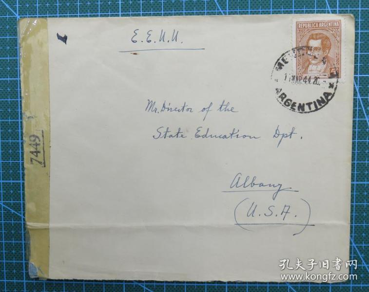 1944年3月1日(阿根廷寄美国)实寄封贴邮票1枚(贴7449检查条)