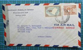 1945年5月21日阿根廷寄美国实寄封贴邮票2枚(贴5976检查条)