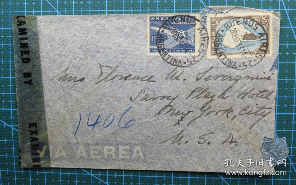 1943年1月28日阿根廷寄美国实寄封贴邮票2枚(贴3962检查条)