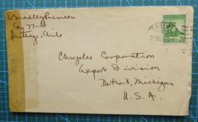 1944年1月31日(智利寄美国)实寄封贴邮票1枚(贴6126检查条)