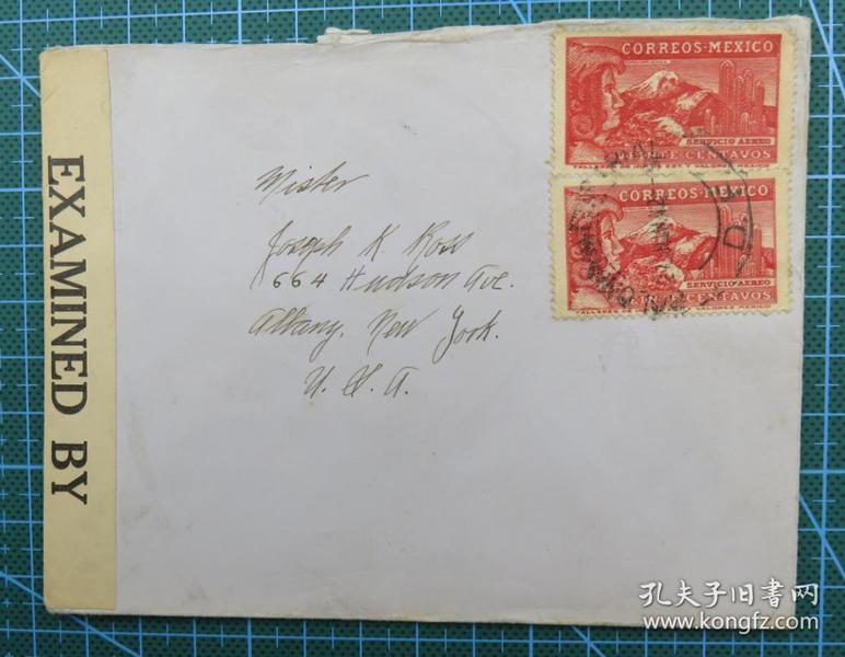 1942年6月27日(墨西哥寄美国)实寄封贴邮票2枚(贴2064检查条)