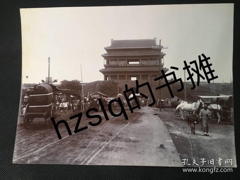 【照片珍藏】清末北京城楼蛋白照片_西直门及门外大街繁忙景象(21x15cm)