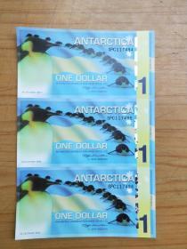 2011年南极洲企鹅塑料纪念钞三连体 纪念钞 1元