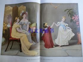 【现货 包邮】1900年巨幅套色木刻版画《快乐的世界》(wenn alle welt fröhlich ist)尺寸约56*41厘米 (货号 18022)
