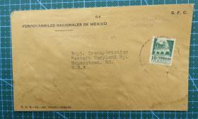 1966年9月20日墨西哥寄美国实寄封贴邮票1枚