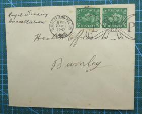 1947年11月20日英国(伯恩利互寄)实寄封贴早期邮票2枚