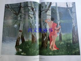 【现货 包邮】1900年巨幅套色木刻版画《阿那克里翁》(Anakreon)尺寸约56*41厘米 (货号 18022)