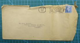 1947年11月21日英国(普雷斯顿寄伯恩利)实寄封贴早期邮票1枚(大)