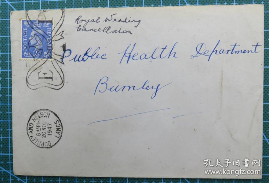 1947年11月20日英国(伯恩利互寄)实寄封贴英国邮票1枚