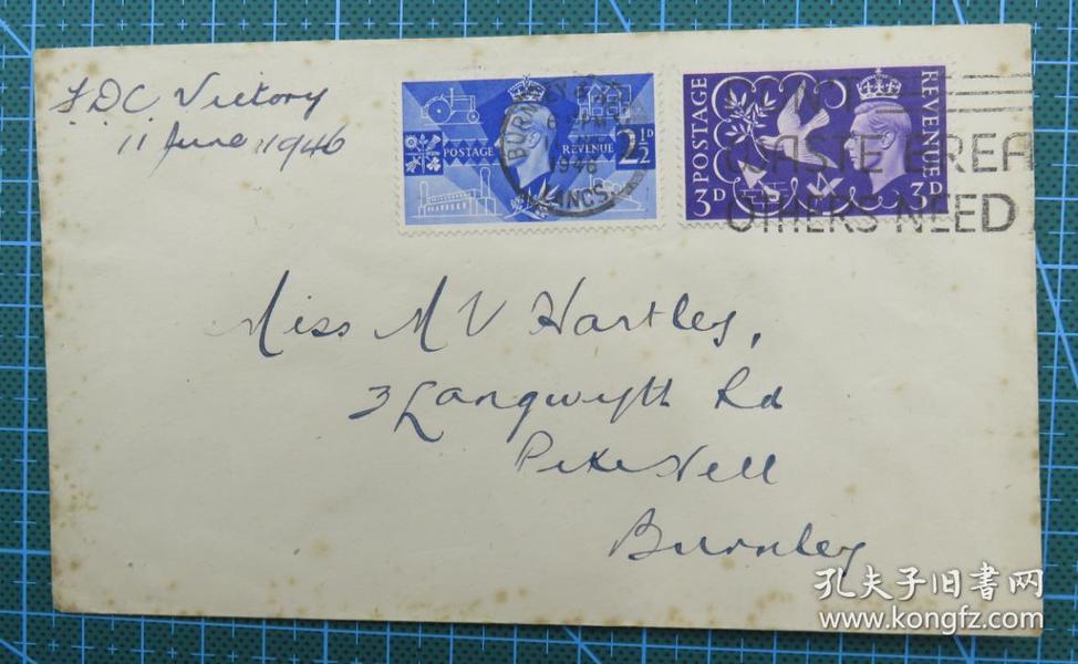 1946年7月11日英国实寄封贴邮票2枚