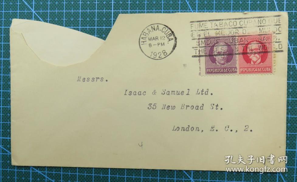 1928年3月12日古巴(哈瓦那寄伦敦)实寄封贴早期邮票2枚