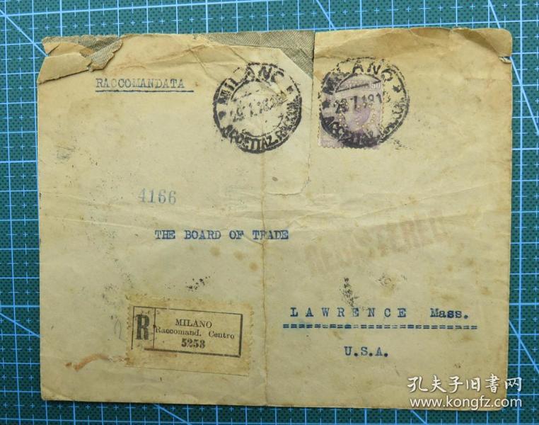 1918年7月29日米兰实寄封贴米兰邮票1枚(6个戳)