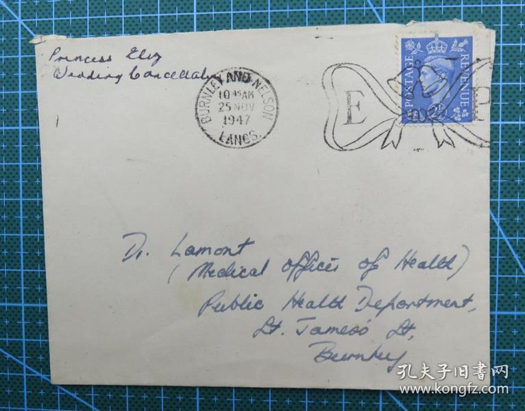 1947年11月25日英国(伯恩利互寄)实寄封贴英国邮票1枚
