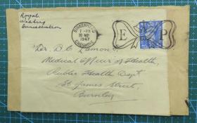 1947年11月20日英国(伯恩利互寄)实寄封贴邮票1枚