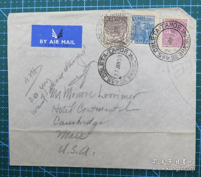 1950年1月27日巴西寄美国实寄封贴邮票3枚