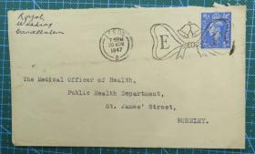 1947年11月20日英国(利兹寄伯恩利)实寄封贴邮票1枚