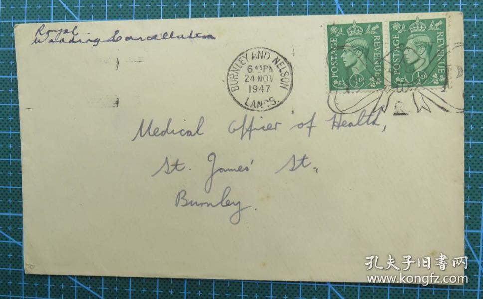 1947年11月24日英国(伯恩利互寄)实寄封贴邮票2枚