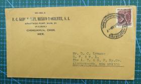 1946年墨西哥实寄封贴邮票1枚