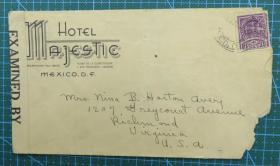 1956年7月6日(墨西哥寄美国)实寄封贴邮票1枚 (贴12155号检查条)