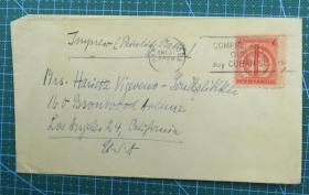 1945年1月31日古巴(哈瓦那寄美国)实寄封贴邮票1枚